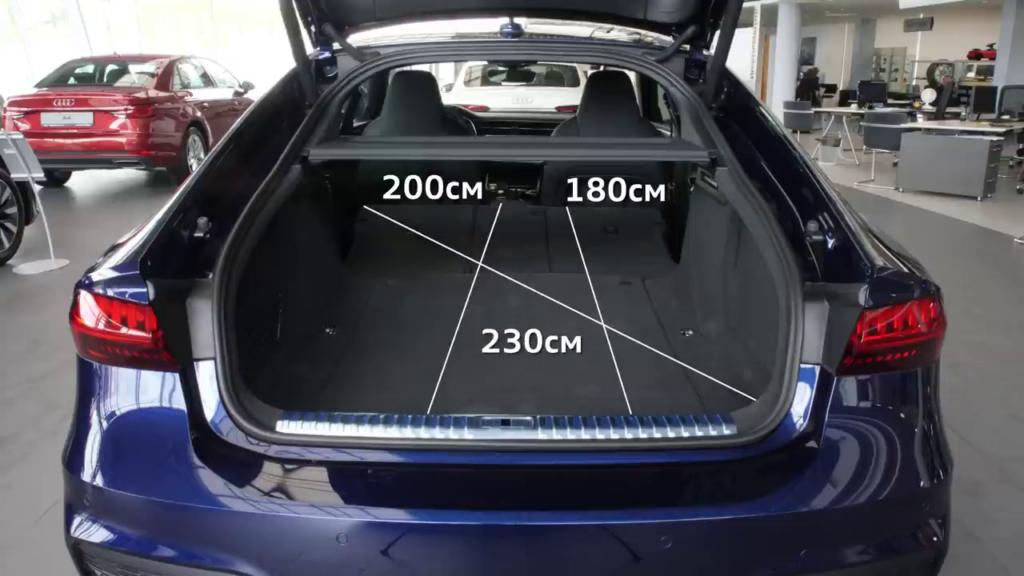 габариты багажного отделения Audi A7сложенного сидения
